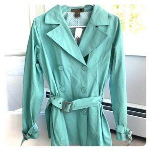 Teal Blue Belted Rain Coat/Jacket
